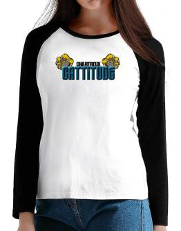 Chartreux Cattitude T-Shirt - Raglan Long Sleeve-Womens