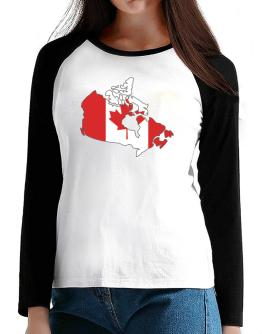 Canada - Country Map Color Simple T-Shirt - Raglan Long Sleeve-Womens