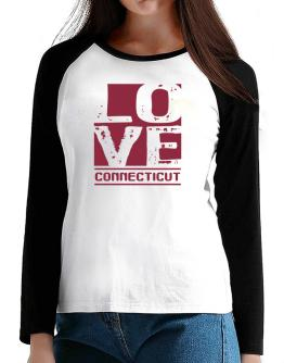 Love Connecticut T-Shirt - Raglan Long Sleeve-Womens