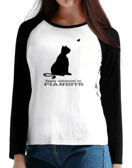 Easily Distracted By Pianists T-Shirt - Raglan Long Sleeve-Womens