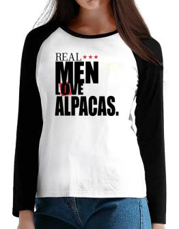 Real Men Love Alpacas T-Shirt - Raglan Long Sleeve-Womens