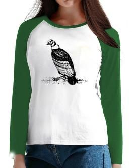 Andean Condor sketch T-Shirt - Raglan Long Sleeve-Womens