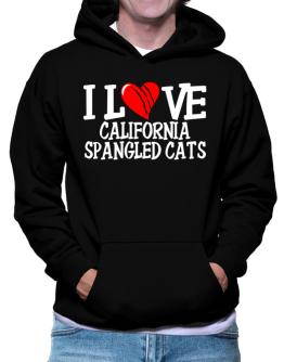 I Love California Spangled Cats - Scratched Heart Hoodie
