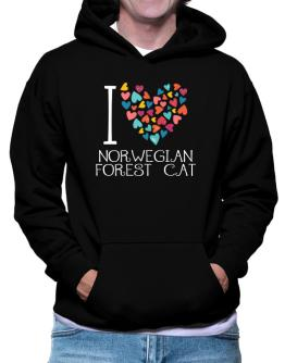 I love Norwegian Forest Cat colorful hearts Hoodie