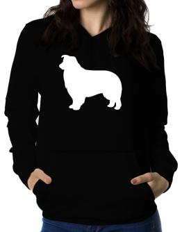 Border Collie Silhouette Embroidery Women Hoodie