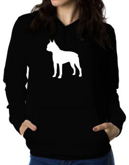 Boston Terrier Silhouette Embroidery Women Hoodie