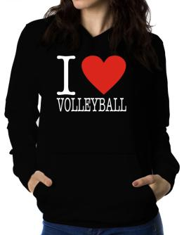 I Love Volleyball Classic Women Hoodie