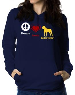 Peace, Love, Boston Terrier Women Hoodie