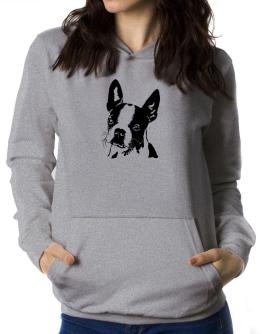 Boston Terrier Face Special Graphic Women Hoodie