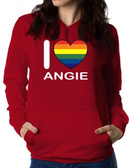 I Love Angie - Rainbow Heart Women Hoodie