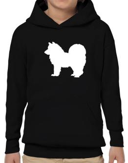 American Eskimo Dog Silhouette Embroidery Hoodie-Boys