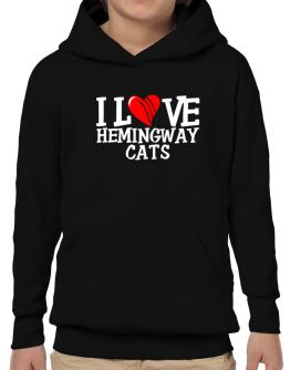 I Love Hemingway Cats - Scratched Heart Hoodie-Boys