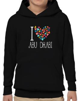 I love Abu Dhabi colorful hearts Hoodie-Boys