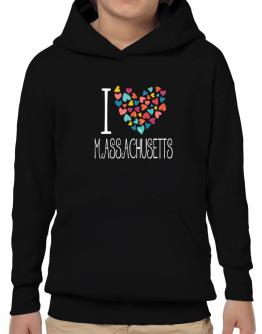 I love Massachusetts colorful hearts Hoodie-Boys