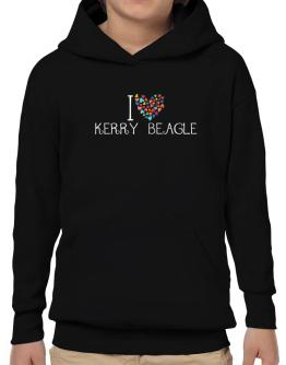 I love Kerry Beagle colorful hearts Hoodie-Boys