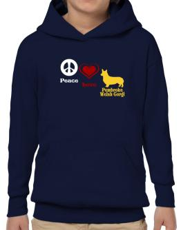 Peace, Love, Pembroke Welsh Corgi Hoodie-Boys