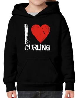 I Love Curling Hoodie-Girls