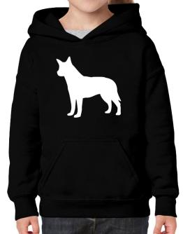 Australian Cattle Dog Silhouette Embroidery Hoodie-Girls