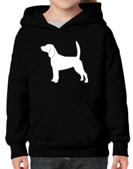 Beagle Silhouette Embroidery Hoodie-Girls