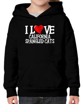 I Love California Spangled Cats - Scratched Heart Hoodie-Girls