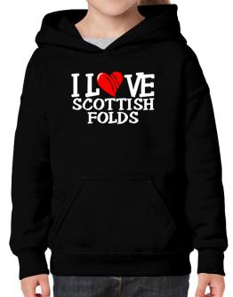 I Love Scottish Folds - Scratched Heart Hoodie-Girls