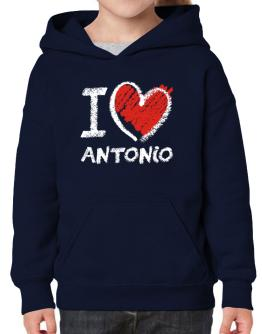 I love Antonio chalk style Hoodie-Girls