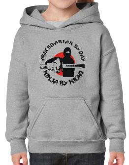 Abecedarian By Day, Ninja By Night Hoodie-Girls