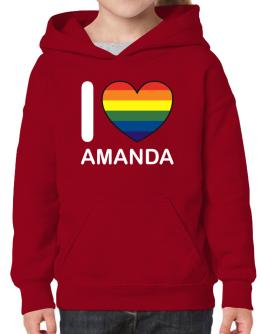 I Love Amanda - Rainbow Heart Hoodie-Girls