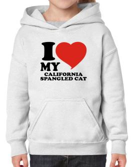 I Love My California Spangled Cat Hoodie-Girls