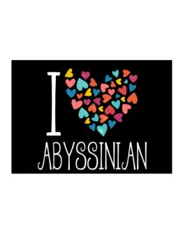 I love Abyssinian colorful hearts Sticker
