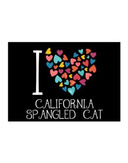 I love California Spangled Cat colorful hearts Sticker