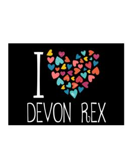 I love Devon Rex colorful hearts Sticker