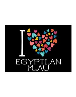 I love Egyptian Mau colorful hearts Sticker