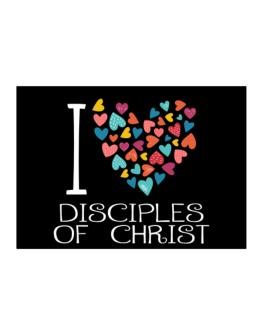I love Disciples Of Christ colorful hearts Sticker