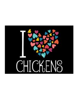 I love Chickens colorful hearts Sticker