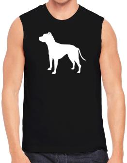American Pit Bull Terrier Silhouette Embroidery Sleeveless