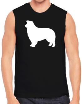 Border Collie Silhouette Embroidery Sleeveless