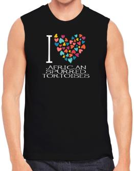I love African Spurred Tortoises colorful hearts Sleeveless