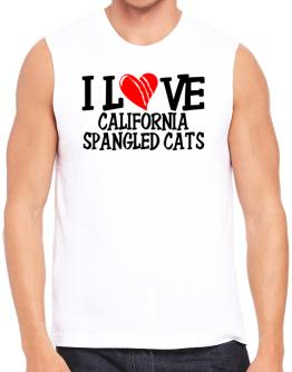 I Love California Spangled Cats - Scratched Heart Sleeveless