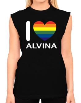 I Love Alvina - Rainbow Heart T-Shirt - Sleeveless-Womens