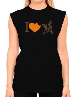 I love Boston Terriers T-Shirt - Sleeveless-Womens