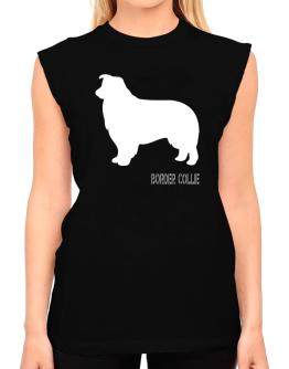 Border Collie Stencil / Chees T-Shirt - Sleeveless-Womens