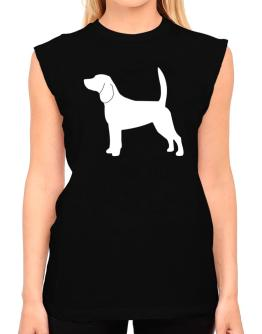 Beagle Silhouette Embroidery T-Shirt - Sleeveless-Womens
