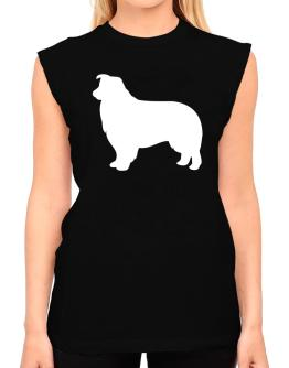 Border Collie Silhouette Embroidery T-Shirt - Sleeveless-Womens