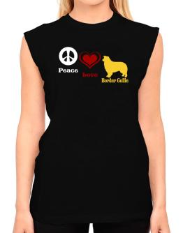 Peace, Love, Border Collie T-Shirt - Sleeveless-Womens