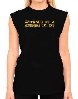 Owned By A Hemingway Cat T-Shirt - Sleeveless-Womens