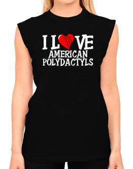 I Love American Polydactyls - Scratched Heart T-Shirt - Sleeveless-Womens