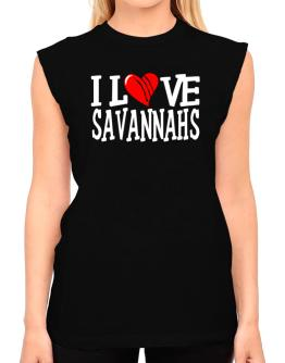 I Love Savannahs - Scratched Heart T-Shirt - Sleeveless-Womens
