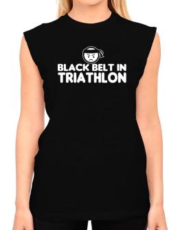 Black Belt In Triathlon T-Shirt - Sleeveless-Womens