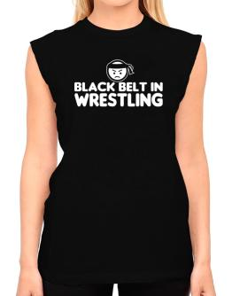 Black Belt In Wrestling T-Shirt - Sleeveless-Womens